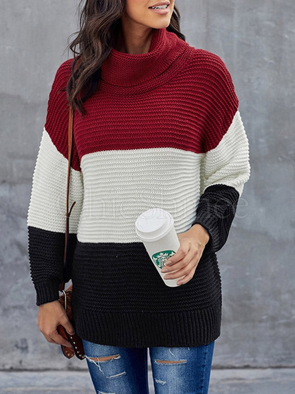 Color Split-Joint High-Neck Knitting Sweater
