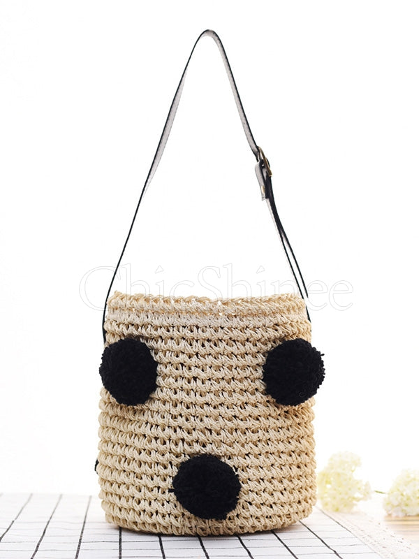 Cherry FurBall Pendant Straw Weaving Tote Bag
