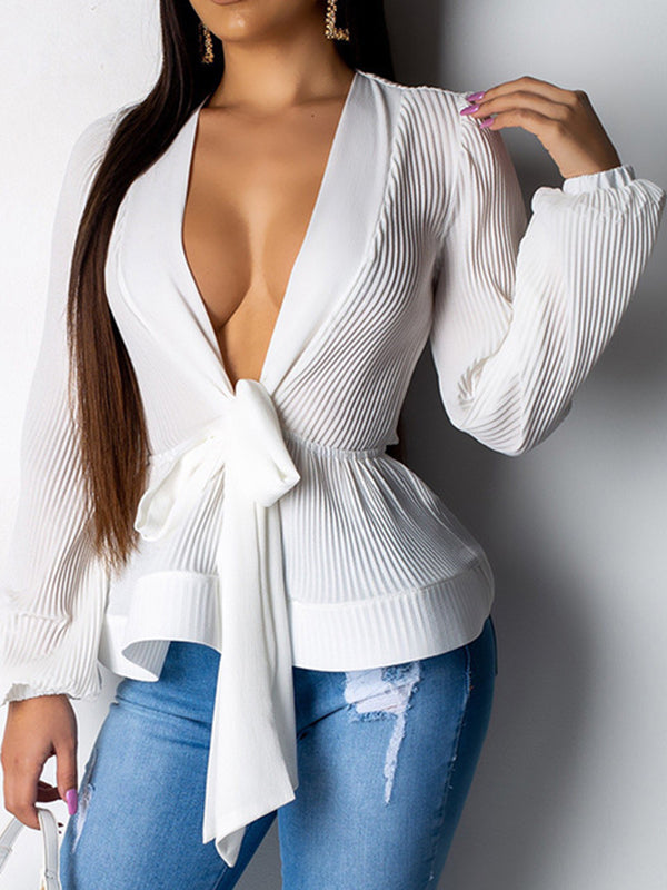 Fashion Long Sleeves Bandage Solid Color Blouses&shirts Tops