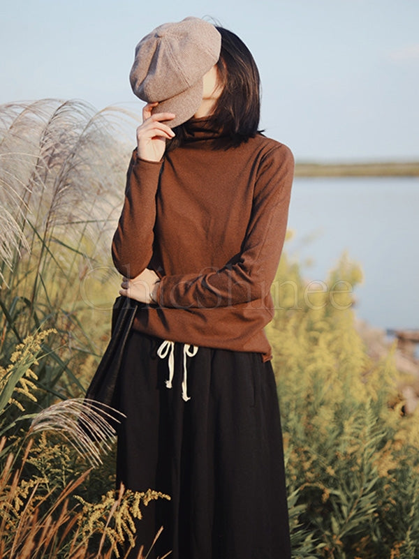 Plain Casual Long Sleeve High Collar T-Shirt