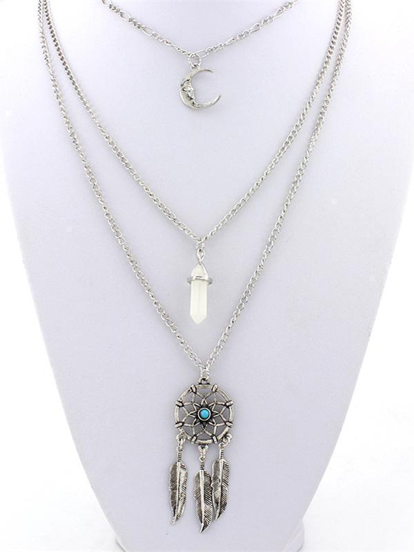 Tasselled Feather Alloy&Stone Necklaces Accessories