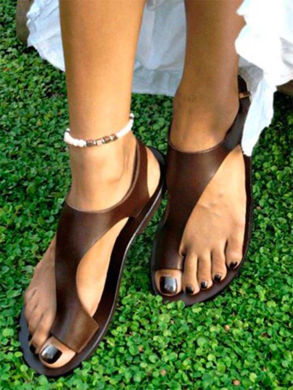 Fashion Solid Toe Ring Sandals