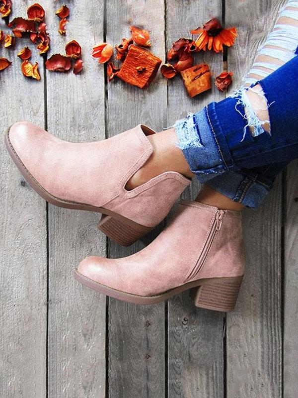 Solid Zipper Chunky Heels Booties