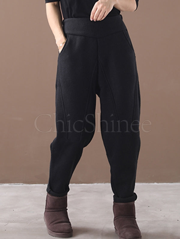 Loose Stitching Velvet Thickening Pants