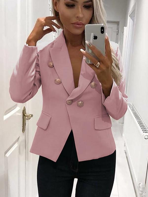 Office Double Breasted Long Sleeve Blazer Outwears Tops