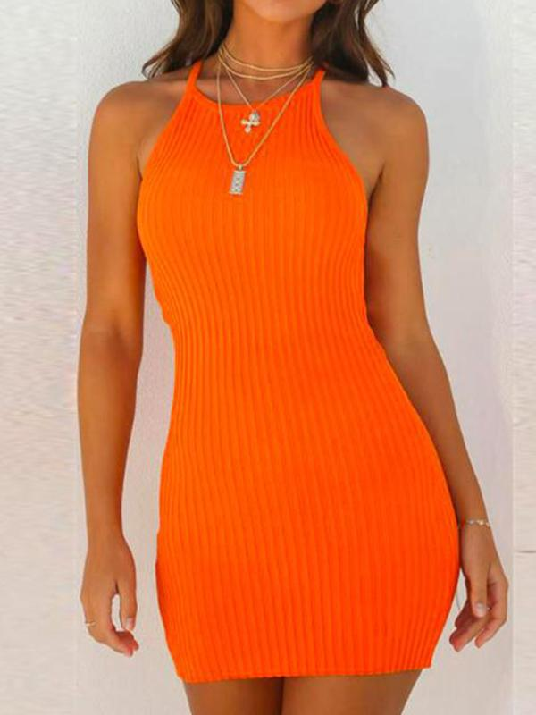 Solid Wrap Spaghetti-neck Mini Dresses