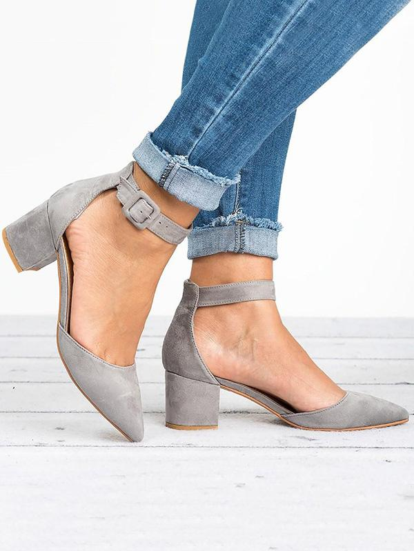 Pretty Solid Chunky Mid Heels