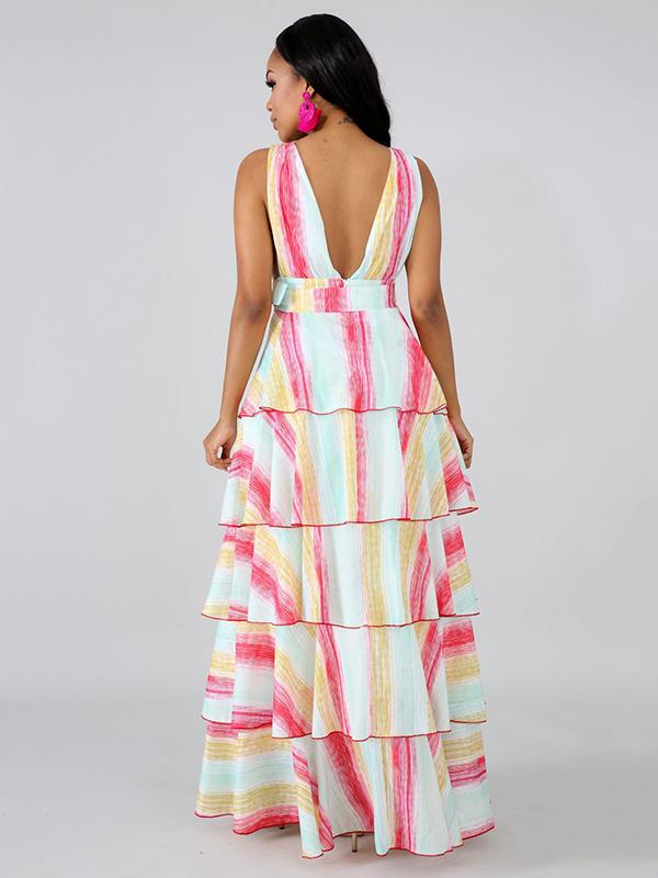 Printed Layered Maxi Dress