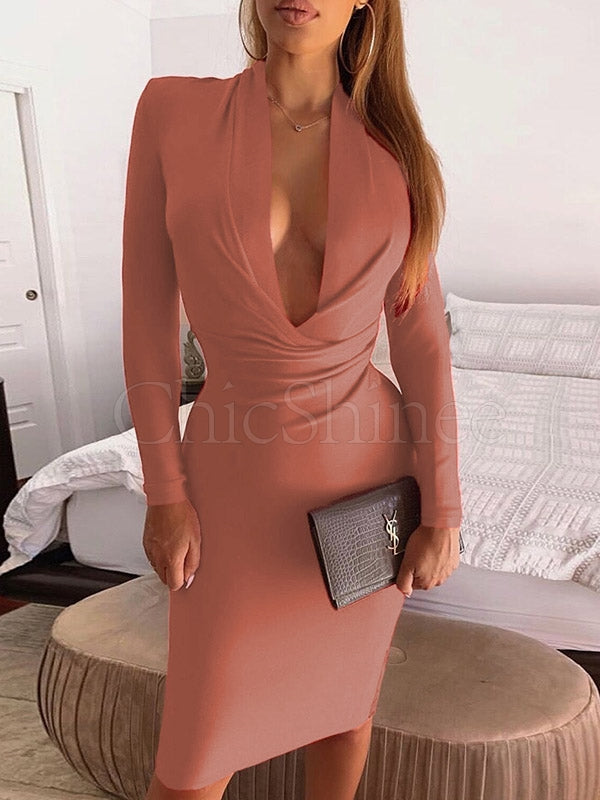 Long Sleeve V-neck Midi Dress