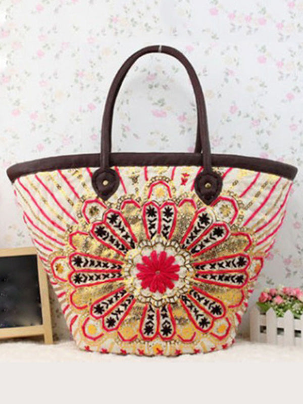 Bohemian Embroidered Woven Bag