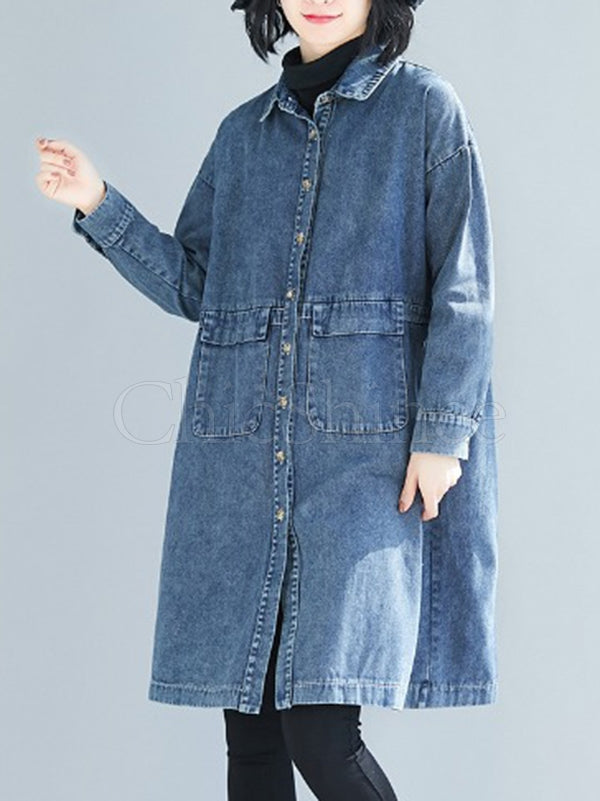 Vintage Loose Long Jean Shirt Outwear