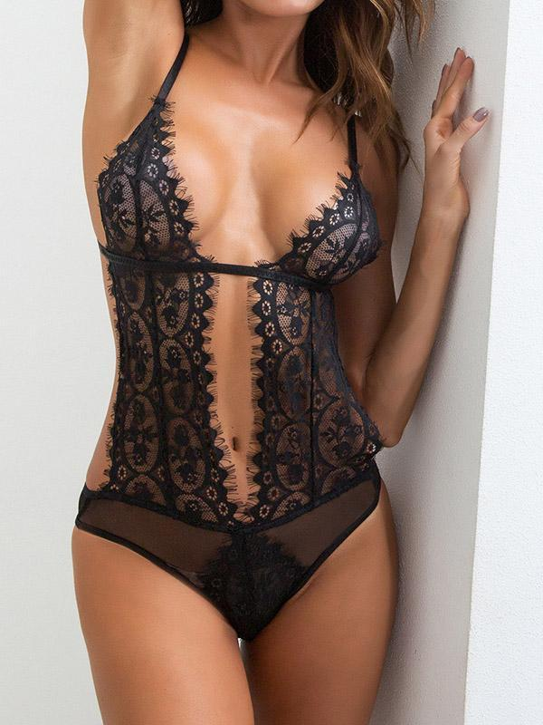 Black One Piece Hollow Tulle Lingerie