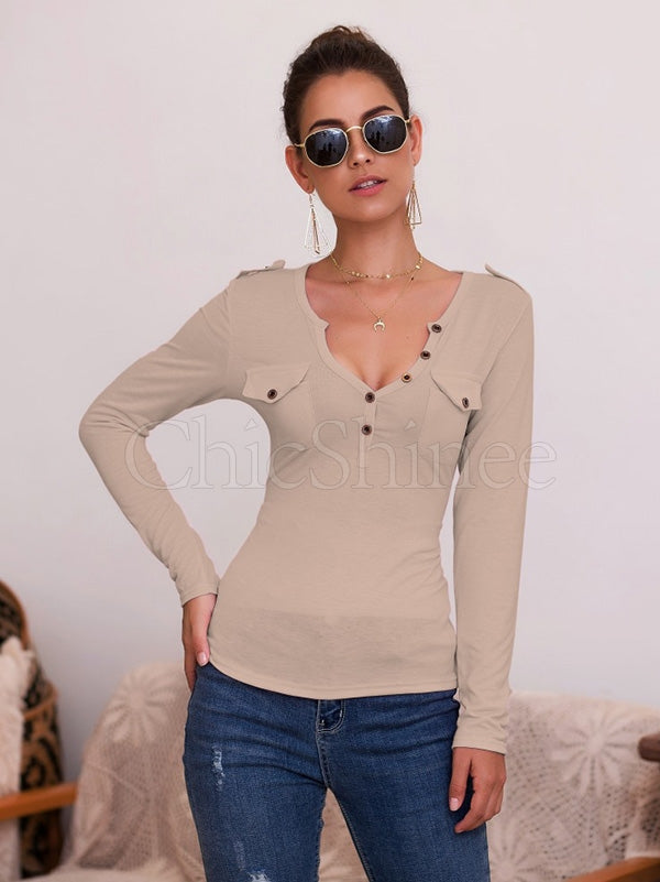 Sexy Button V-neck Long Sleeve T-Shirt