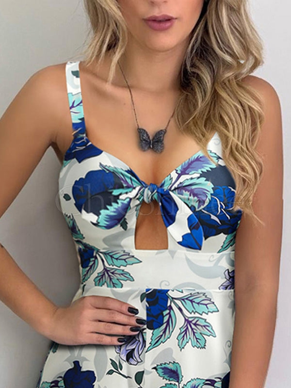 Fashion Printed Hollow Sleeveless Romper