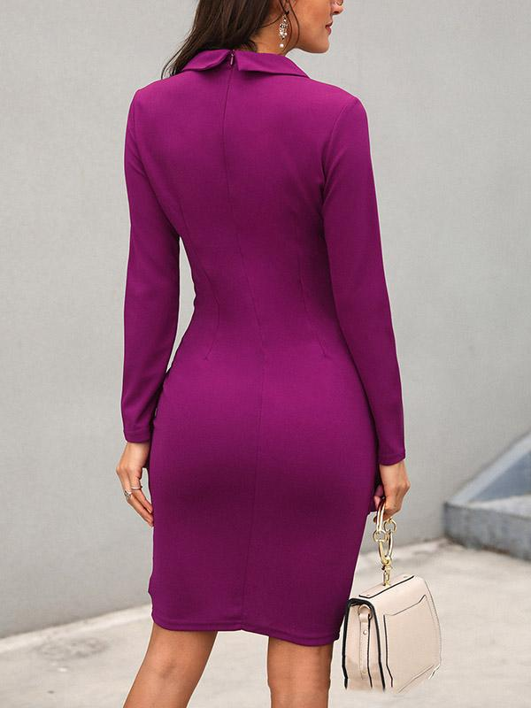3 Colors Long Sleeve Midi Blazer Dress