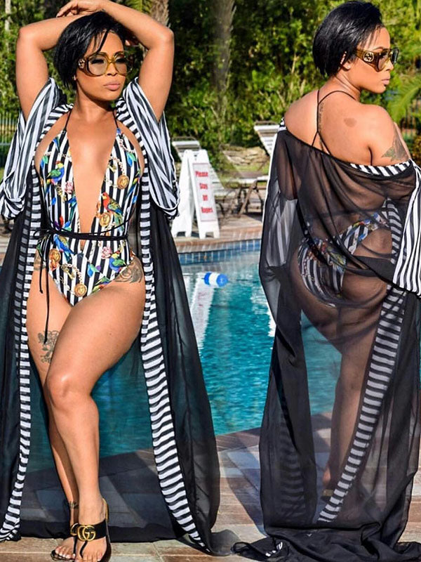 Contrast Striped Mesh Cover-Up&One Piece Swimsuit