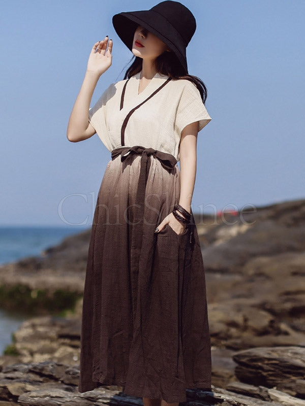Original Gradient Belted Maxi Dress