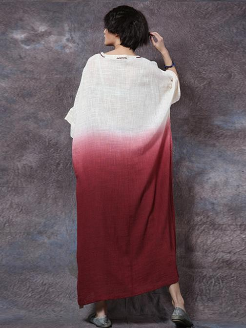 4 Colors Gradient Ramie Cotton Long Dress