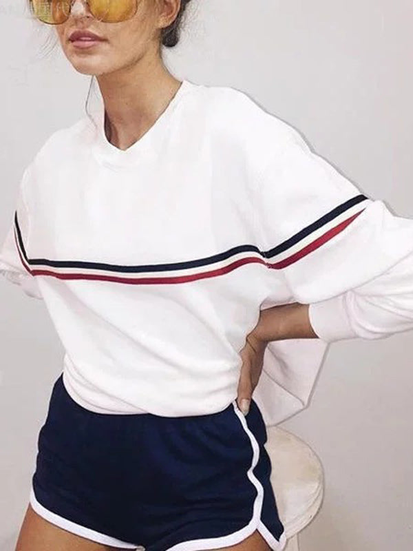 Contrast Trim Long Sleeve Sweatshirts
