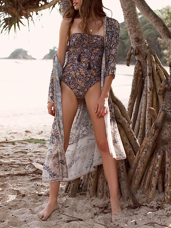 Printed Bohemia Sun-protected Beach Cover-ups