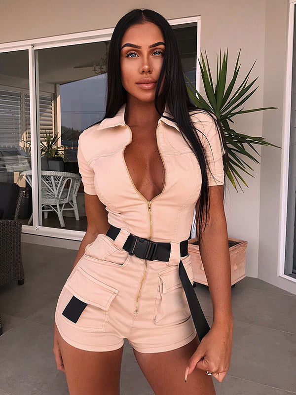 Short Sleeve Zipper Cargo Rompers