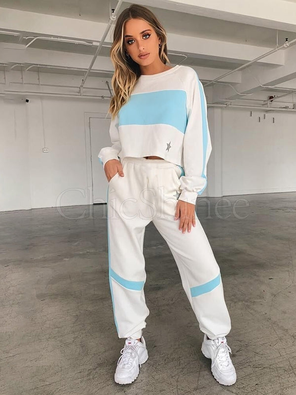 Star Printed Split-joint Sweatshirt&Pants Sports Suits