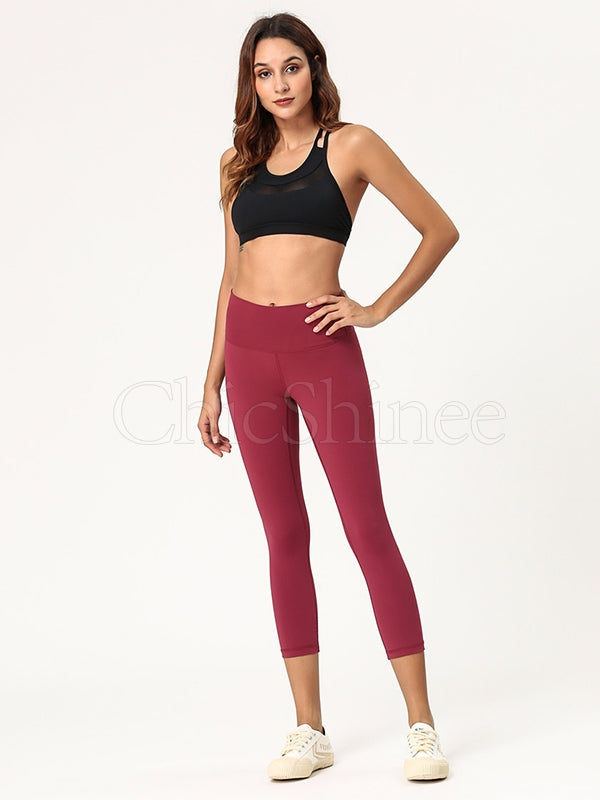 Lift Hip Solid Fitness Sports Seventh Leggings