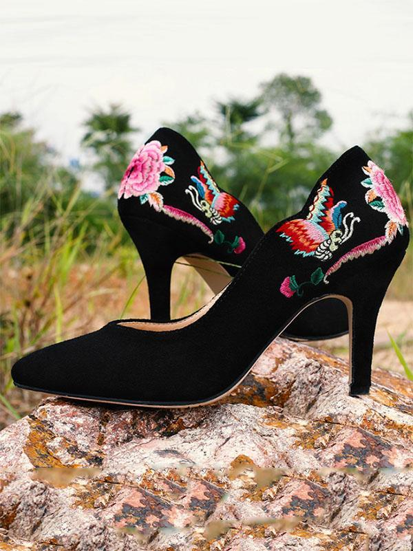 Pretty National Embroidered Floral High Heels