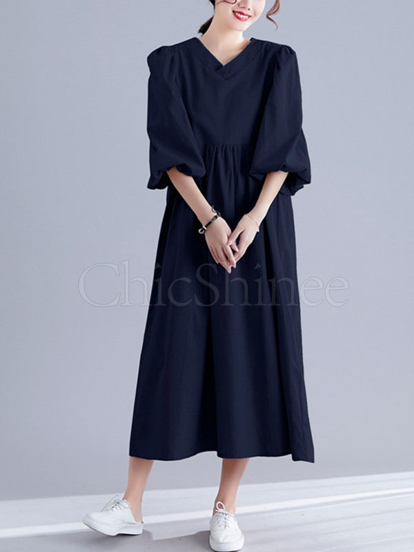 Plain Lantern Sleeves V-Neck Midi Dress