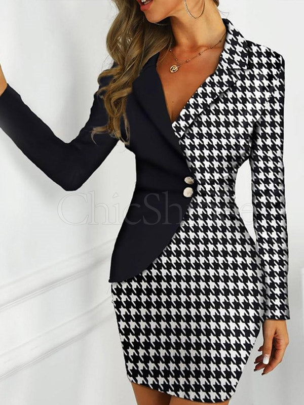 Contrast Color Long Sleeve Midi Blazer Dress