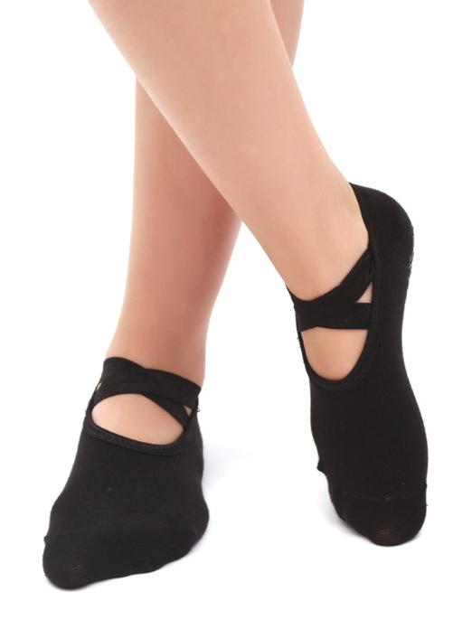 Solid Cross Backless Yoga Socks