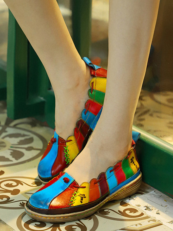 Retro Cow Leather Colorful Flat Shoes