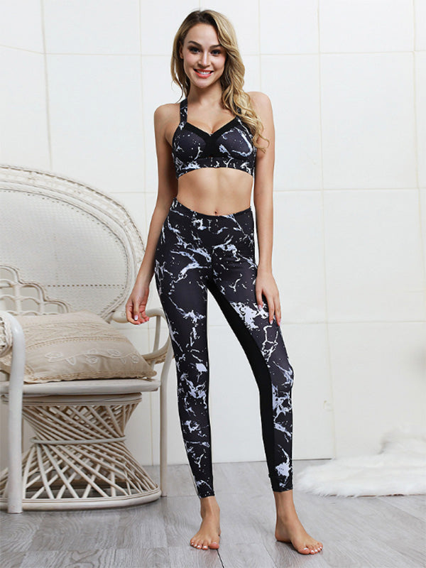 Printed Split-joint Tanks And Leggings Yogo Suits