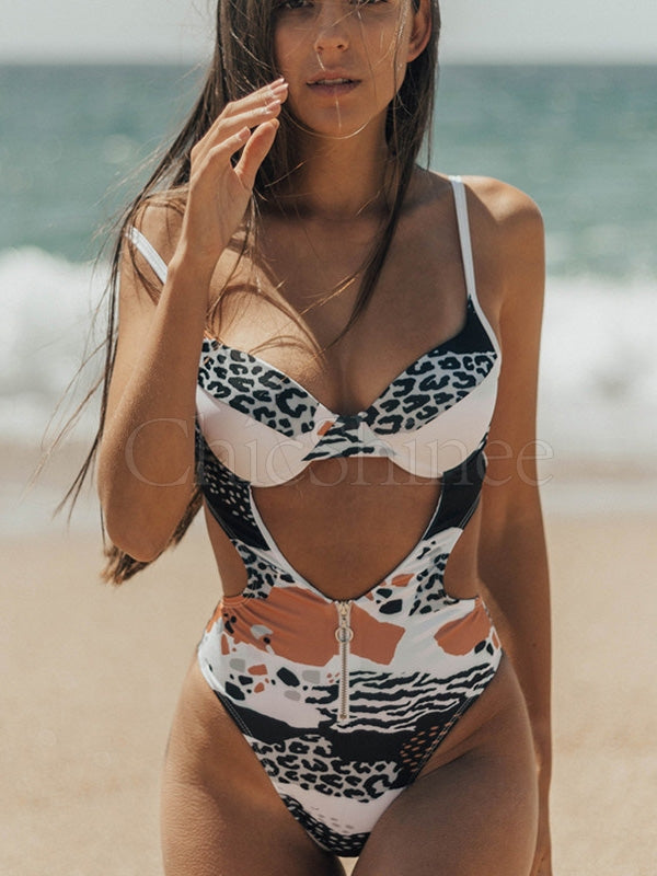 Spaghetti-Neck Printed Hollow One-Piece Swimsuit