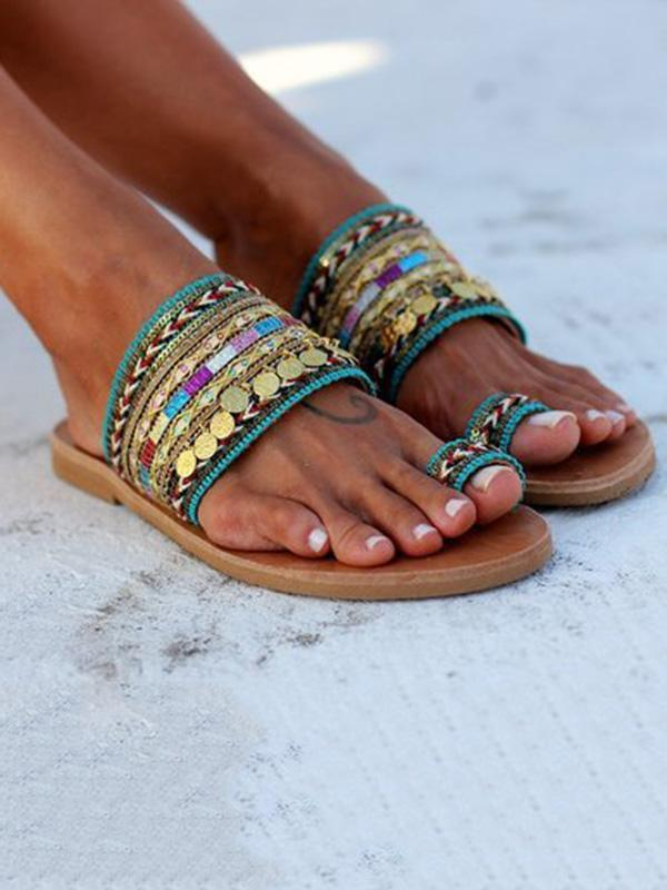 Decorated Toe Ring Bohemia Mules Sandals