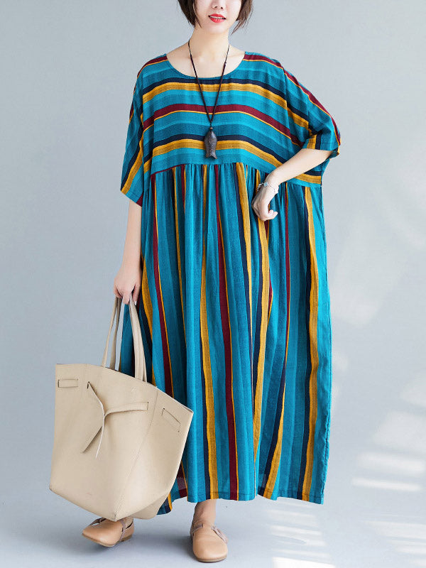 Loose Retro Striped Round-neck Long Dress