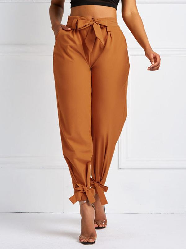 Fashion 4 Colors High Waist Belted Pants