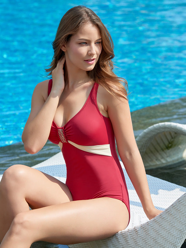 Sexy Contrast Color One-piece Swimsuit