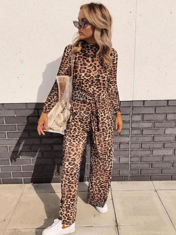 Casual Leopard Jumpsuits