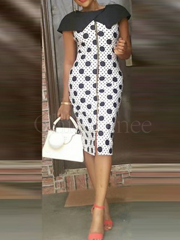 Polka-dot Printed Split-front Midi Dress
