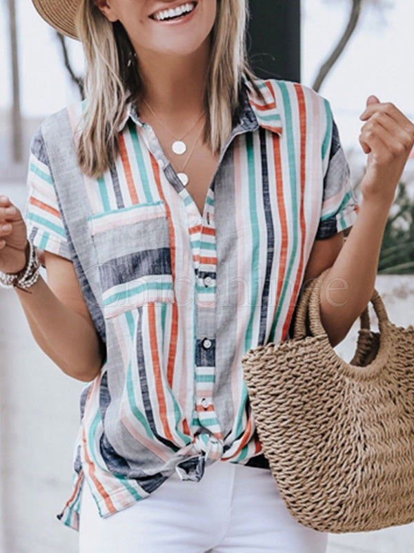 Striped Contrast Color Lapel Shirt