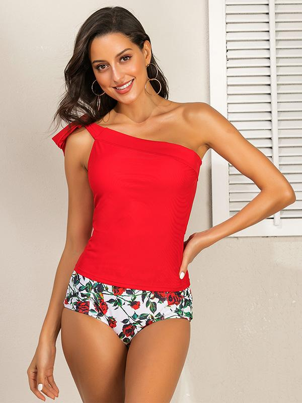 One-shoulder Knot Tankini Swimsuit