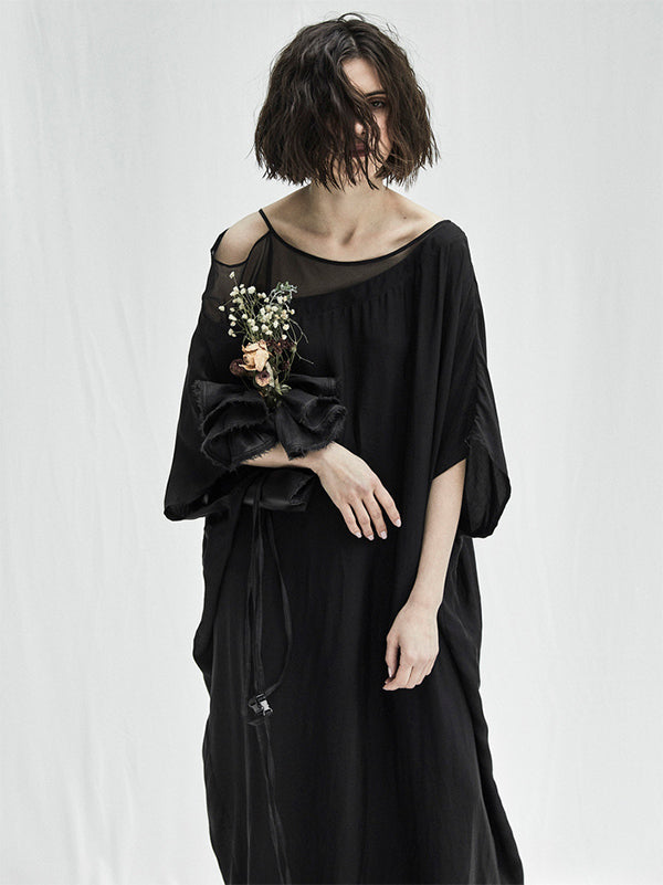 Urban Black Split-joint See-through Long Dress