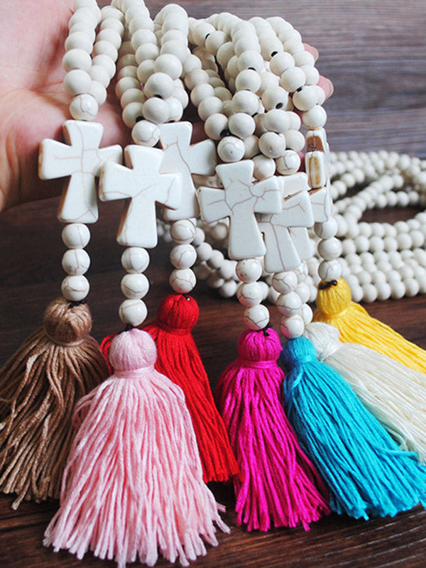Simple Handmade Beaded Cross Tassel Necklace Accessories