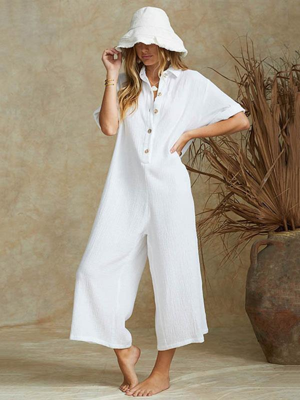 4 Colors Short Sleeves Loose Long Jumpsuits
