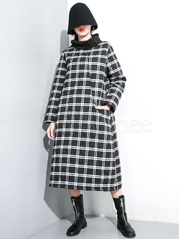 Loose Plaid Cotton-padded Long Dress