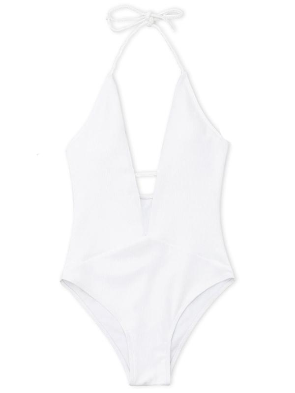 Solid Halterneck One-piece Swimwear