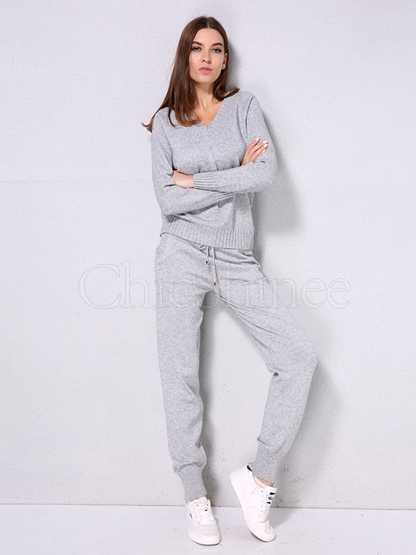 Solid Drawstring Knitting Sweater Sports Suits
