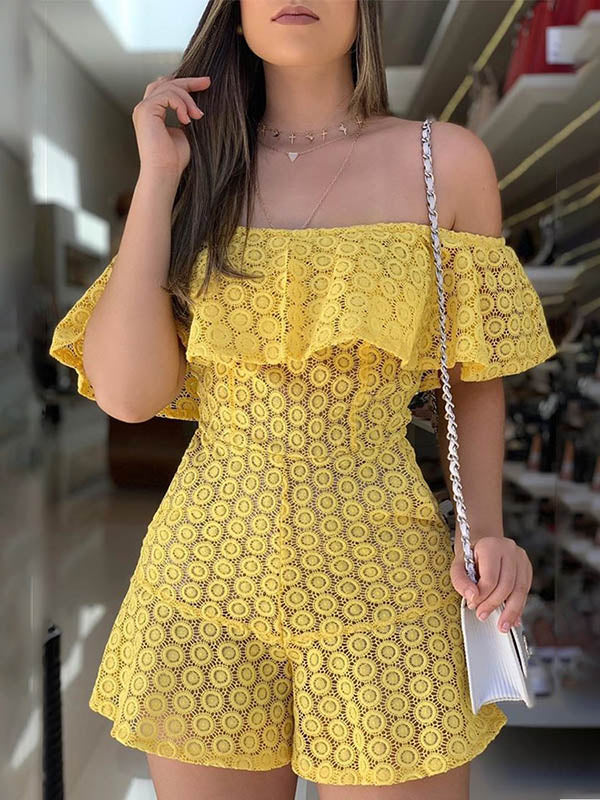 Yellow Cute Lace Romper