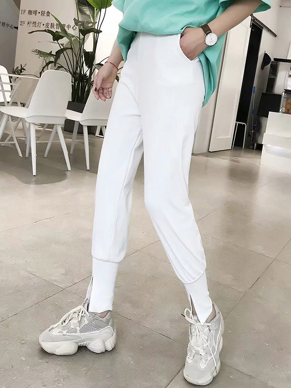 Loose Empire Ankle-tied Solid Sports Pants